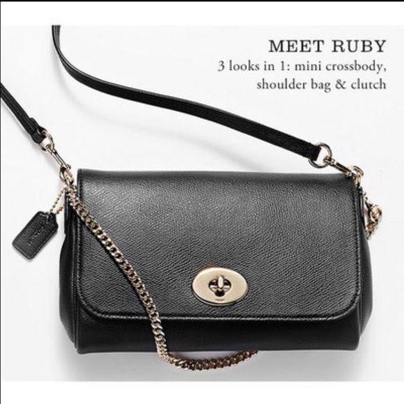 ❤️Coach Mini Ruby Crossgrain Leather Crossbody Super cute mini ruby  Crossbody in black. Authentic 2fb3bddae22e0