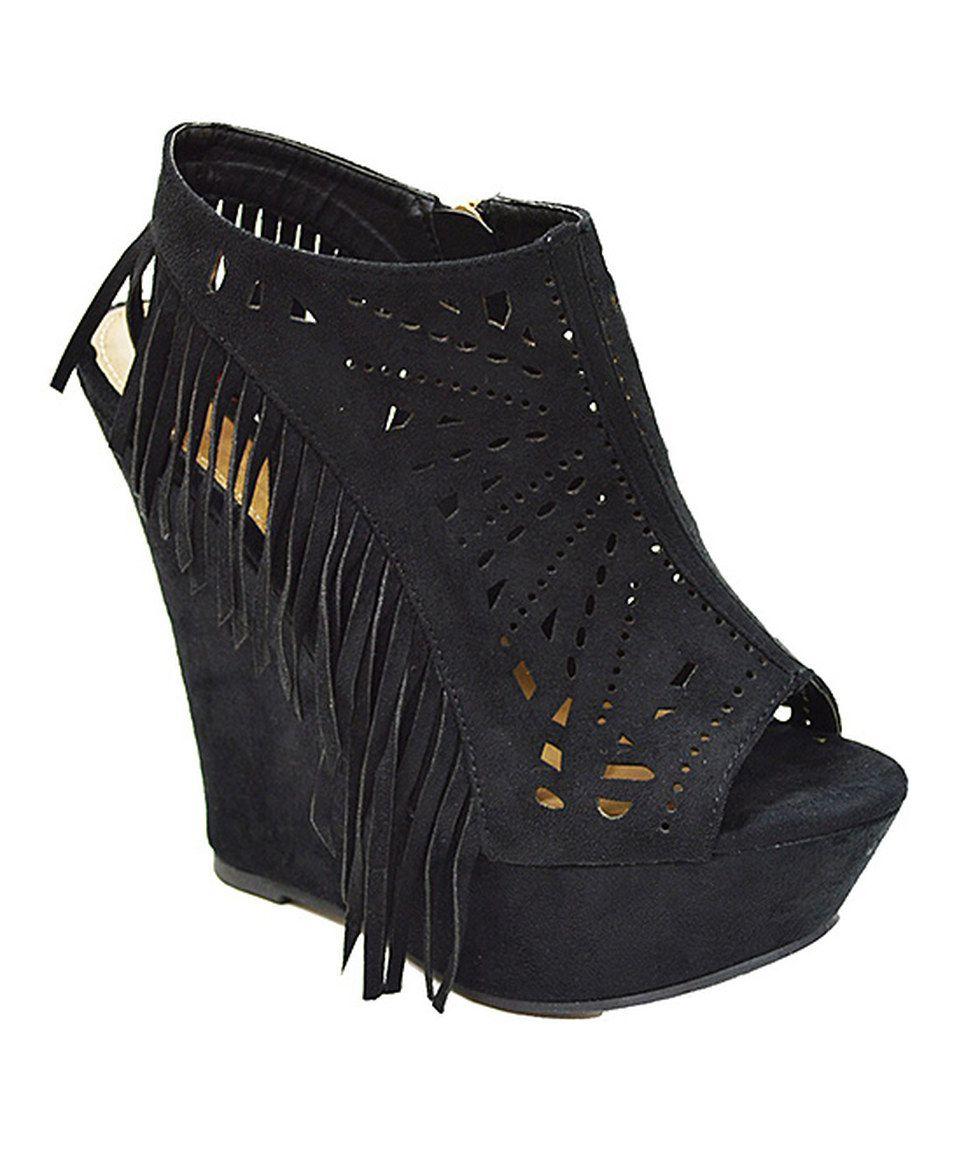 DBDK Fashion Black Perforated Fringe Adyson Bootie by DBDK Fashion #zulily #zulilyfinds