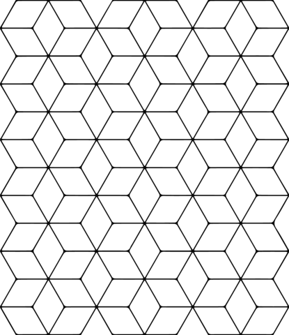 Tessellation With Rhombus Coloring Page From Tessellations Category Select From 26803 Printable Crafts O Tessellation Patterns Tessellation Art Coloring Pages