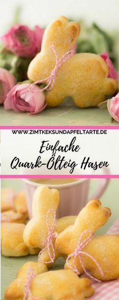 Leckere Oster-Hasen aus Quark-Öl-Teig, ganz einfach und schnell #apfelrosenrezept