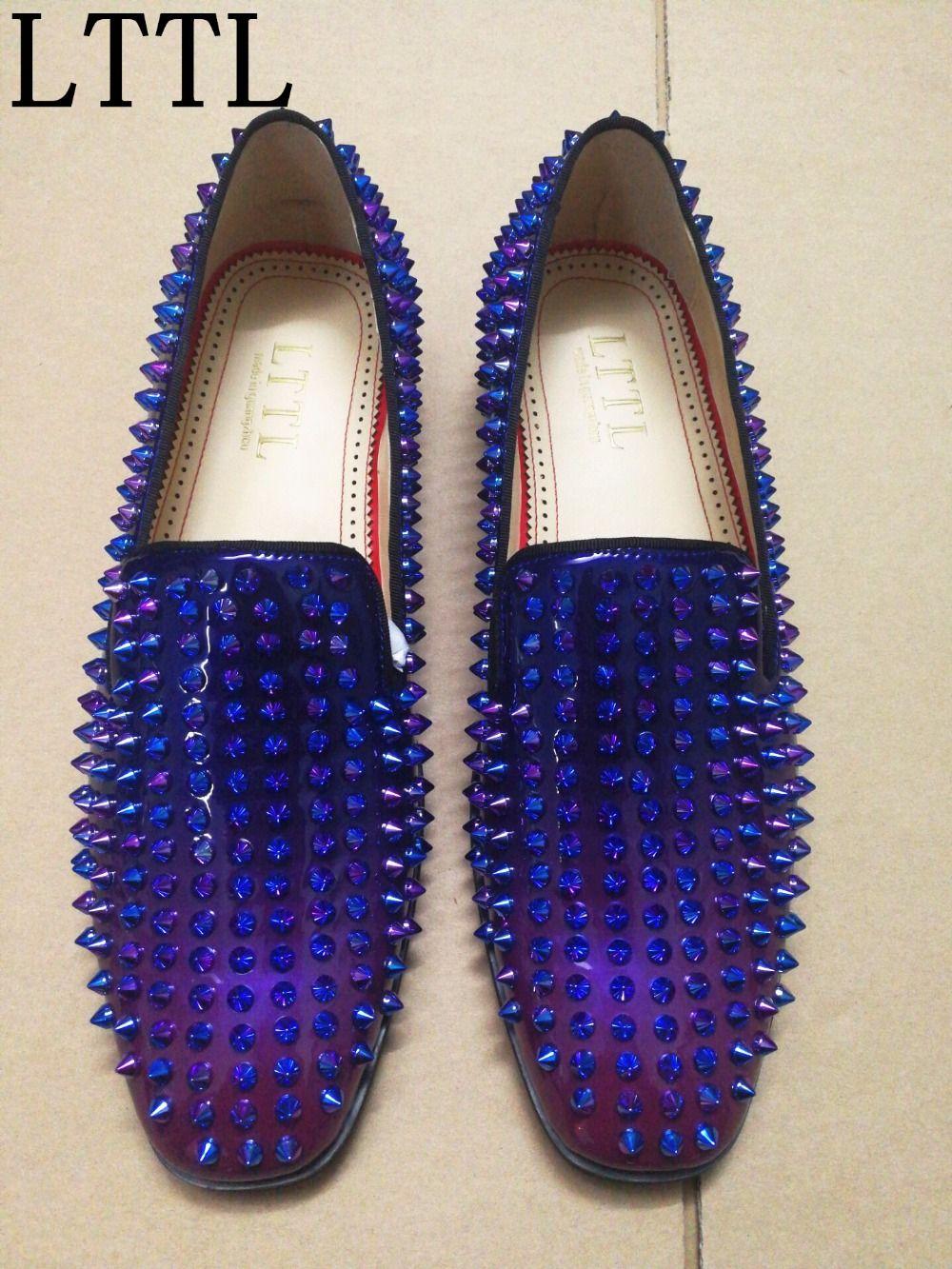 39a400208db2 Mens Designer LTTL Spike Shoes Spring Summer Colorful Rivets Loafers Rubber  Soles Slip-on Flats