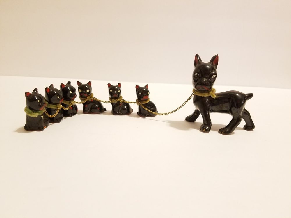 Vintage Boston Terrier French Bulldog Japan Figurine Mommy