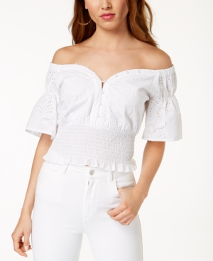 dbb4e1f2fad1fd Guess Off-The-Shoulder Cotton Eyelet Top - White XS