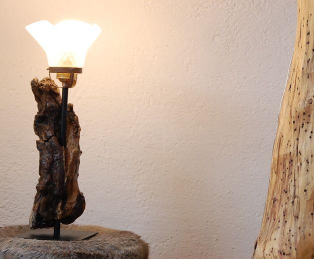 Treibholz Lampe Mit Glasschirm Handmade