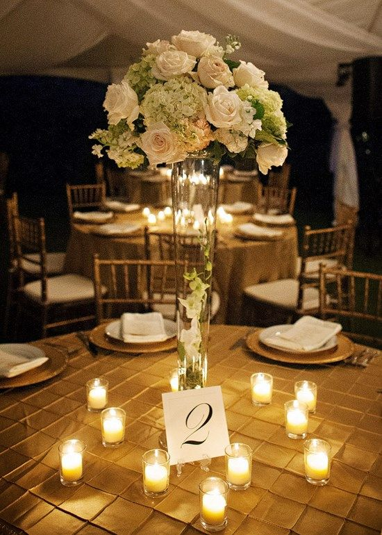 Southern Reception Glamorous Wedding Reception Tall Centerpieces