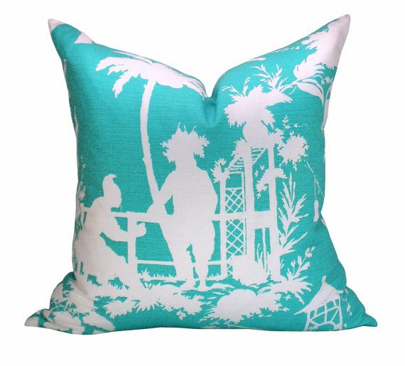 Thibaut South Sea Pillow Cover In Turquoise Tiffany Blue Simple South Seas Decorative Pillows