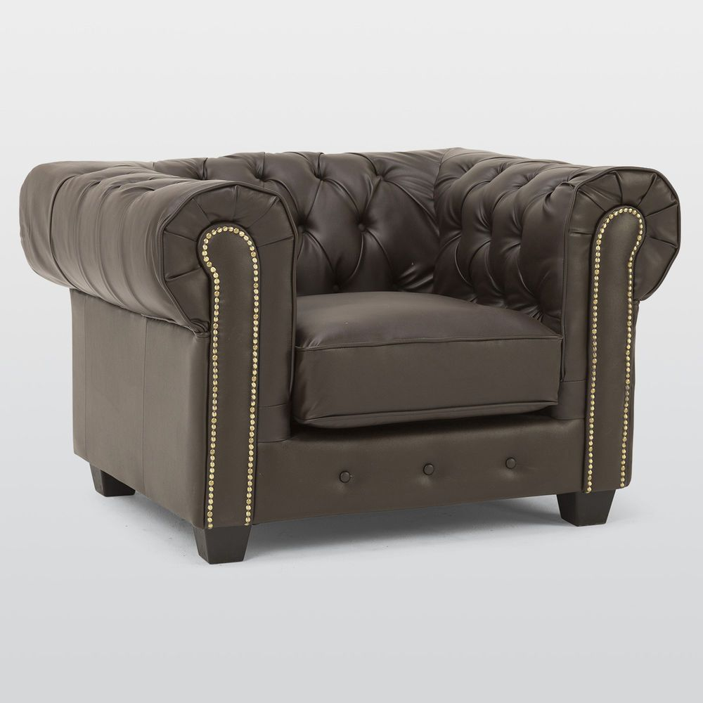 Brown Chesterfield Leather Armchair Traditional Wooden Foam Cushions Chair  Seat