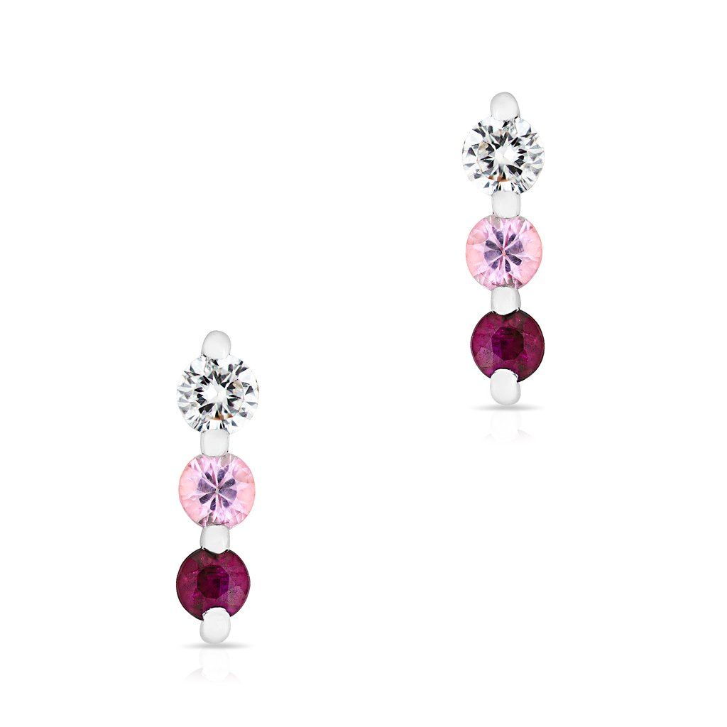 a32e43543 14KT White Gold Pink Sapphire Ruby Diamond Ombre Earrings | Products ...