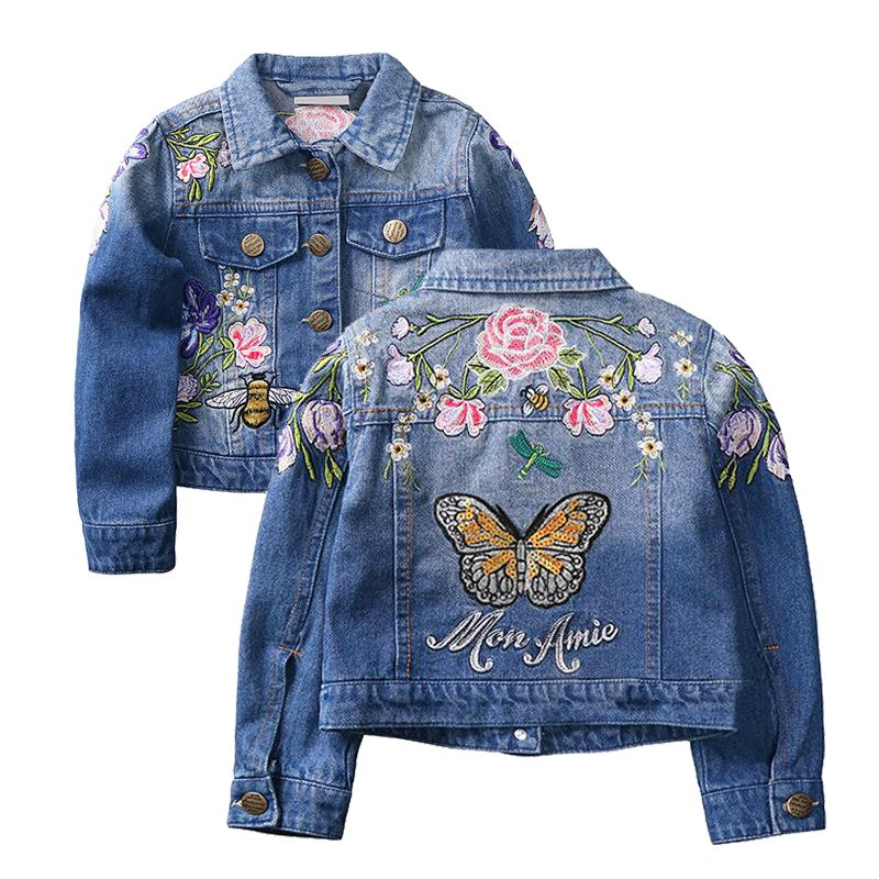 f0721c6f6 Baby Girls Denim Jackets Coats Fashion Long Sleeves Embroidery Denim ...