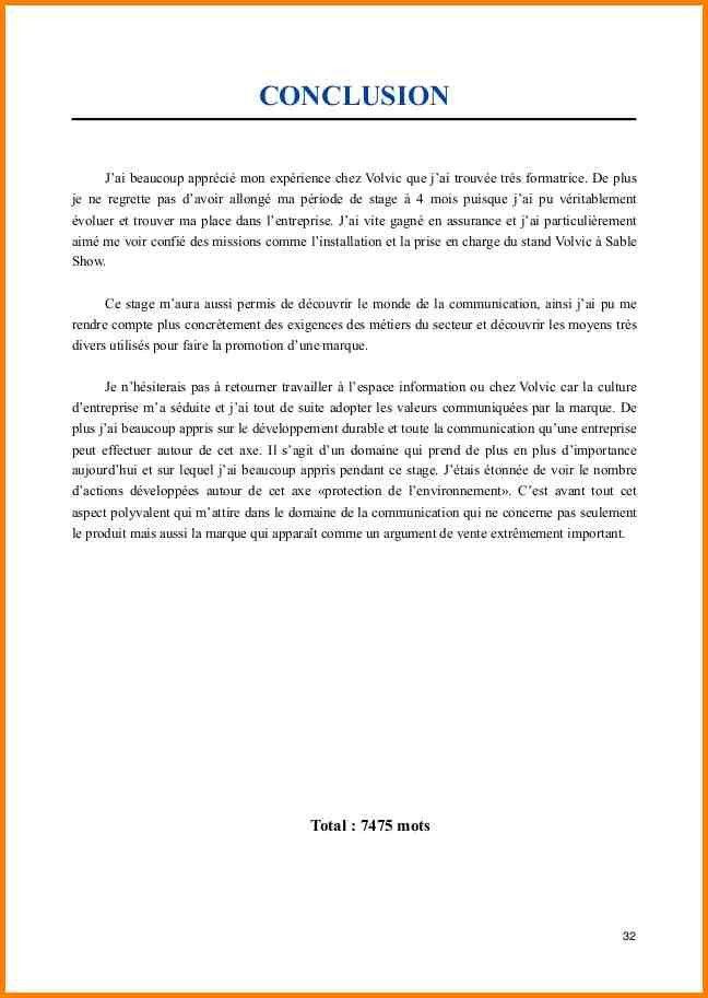 15 Exemple Conclusion Rapport De Stage Ala Ouzarf Hadjret Ennous Rapport De Stage Stage Conclusion