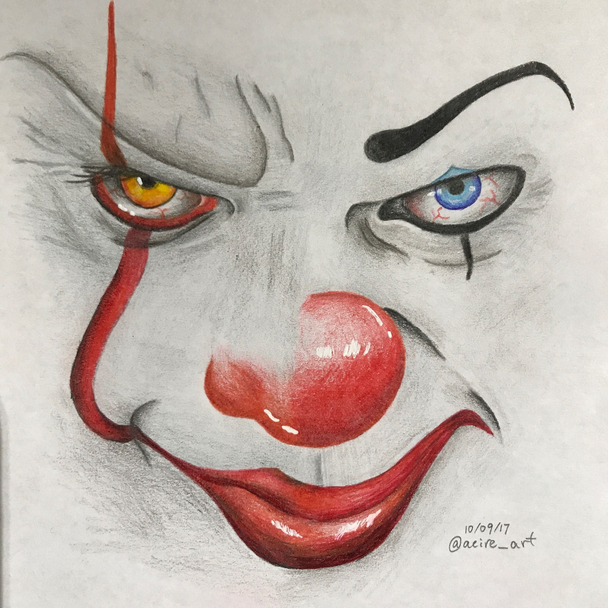 1990 vs 2017 pennywise pencil crayon drawing acire art on
