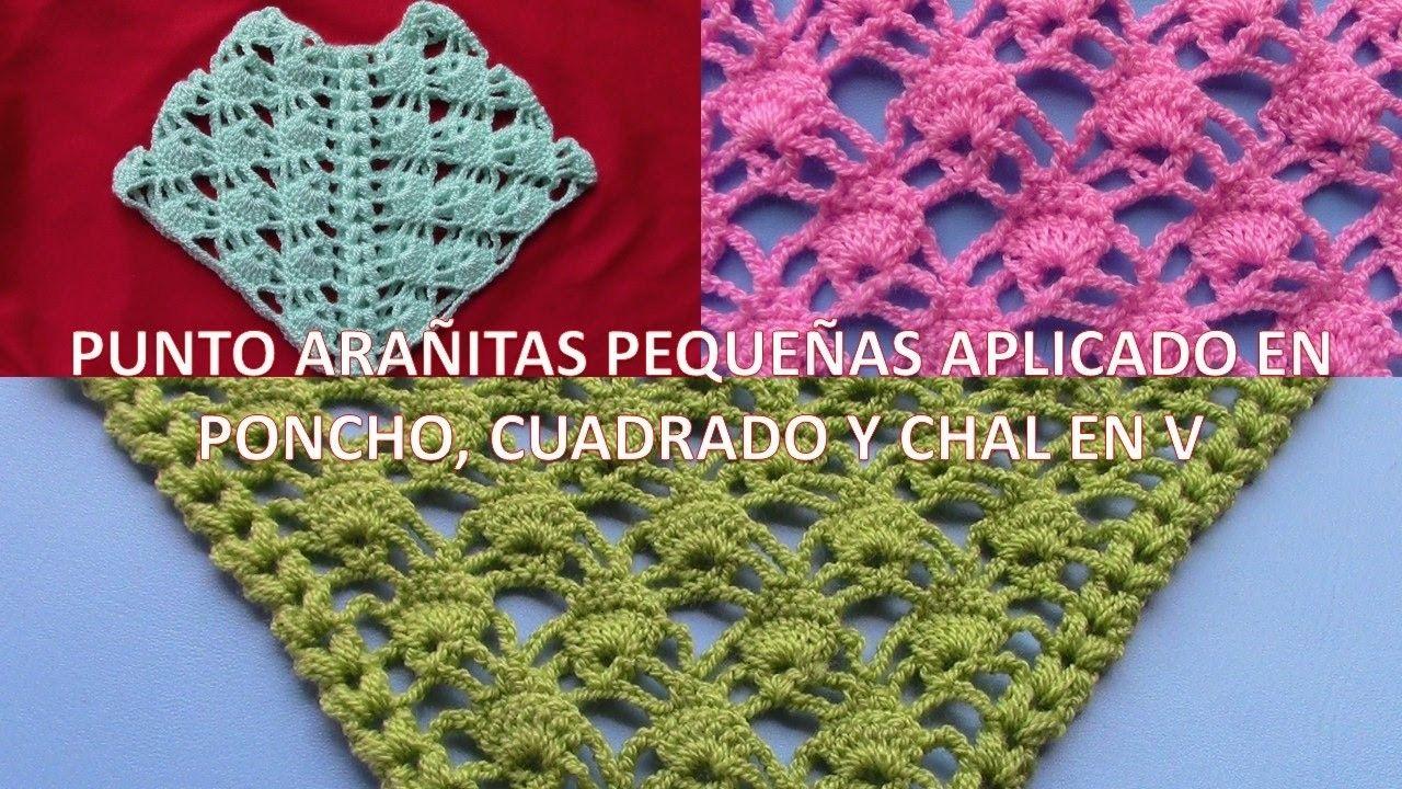 Punto Arañitas pequeñas a crochet aplicado en chal, poncho y punto ...