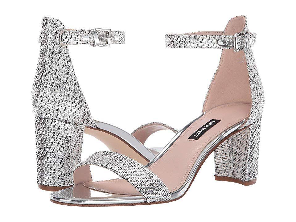 Nine West Pruce Block Heeled Sandal Women S Shoes Silver Heels Block Heels Silver Sandals