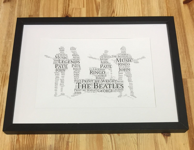 Framed Word Art Design Of The Beatles Gift Idea For Beatles Fan Personalised Typography Christmas Gift Birthday G Framed Word Art Word Art Word Art Design