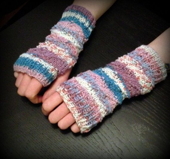 One Of A Kind Girls Fingerless Mittens, Small Knitted Gloves, Fair ...
