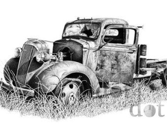 Vintage Truck - 'Better Days' - 8 x 10 - Pen and ink