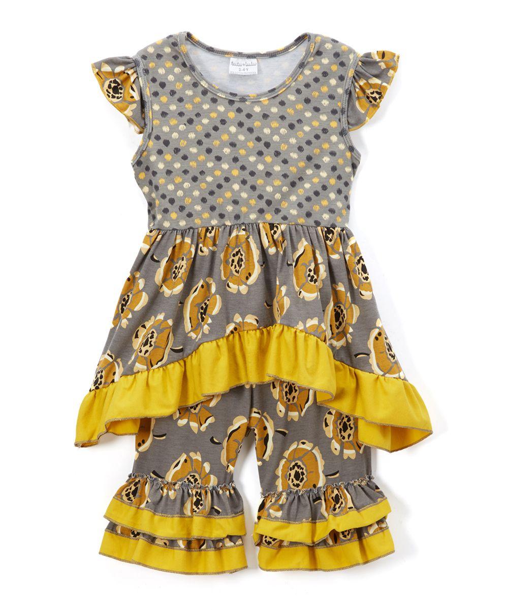Gray u yellow floral hilow dress u ruffle shorts toddler u girls
