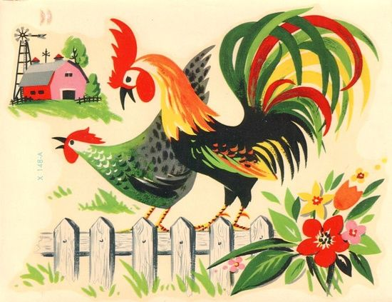 Vintage Rooster on fence Retro Kitchen Decals Meyercord
