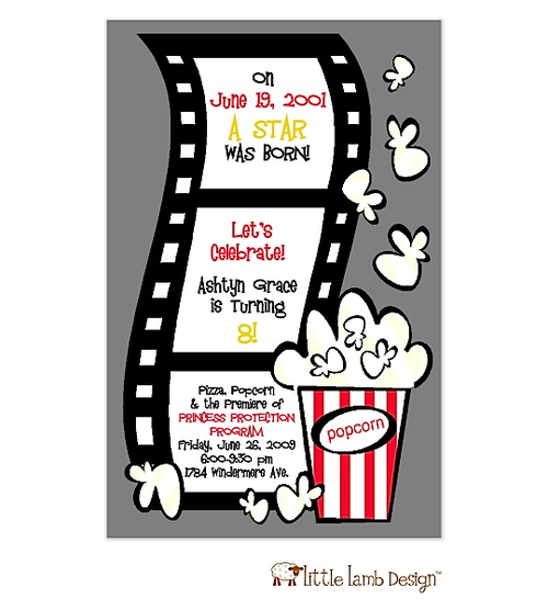 Movie Night Film And Popcorn Party Invitations