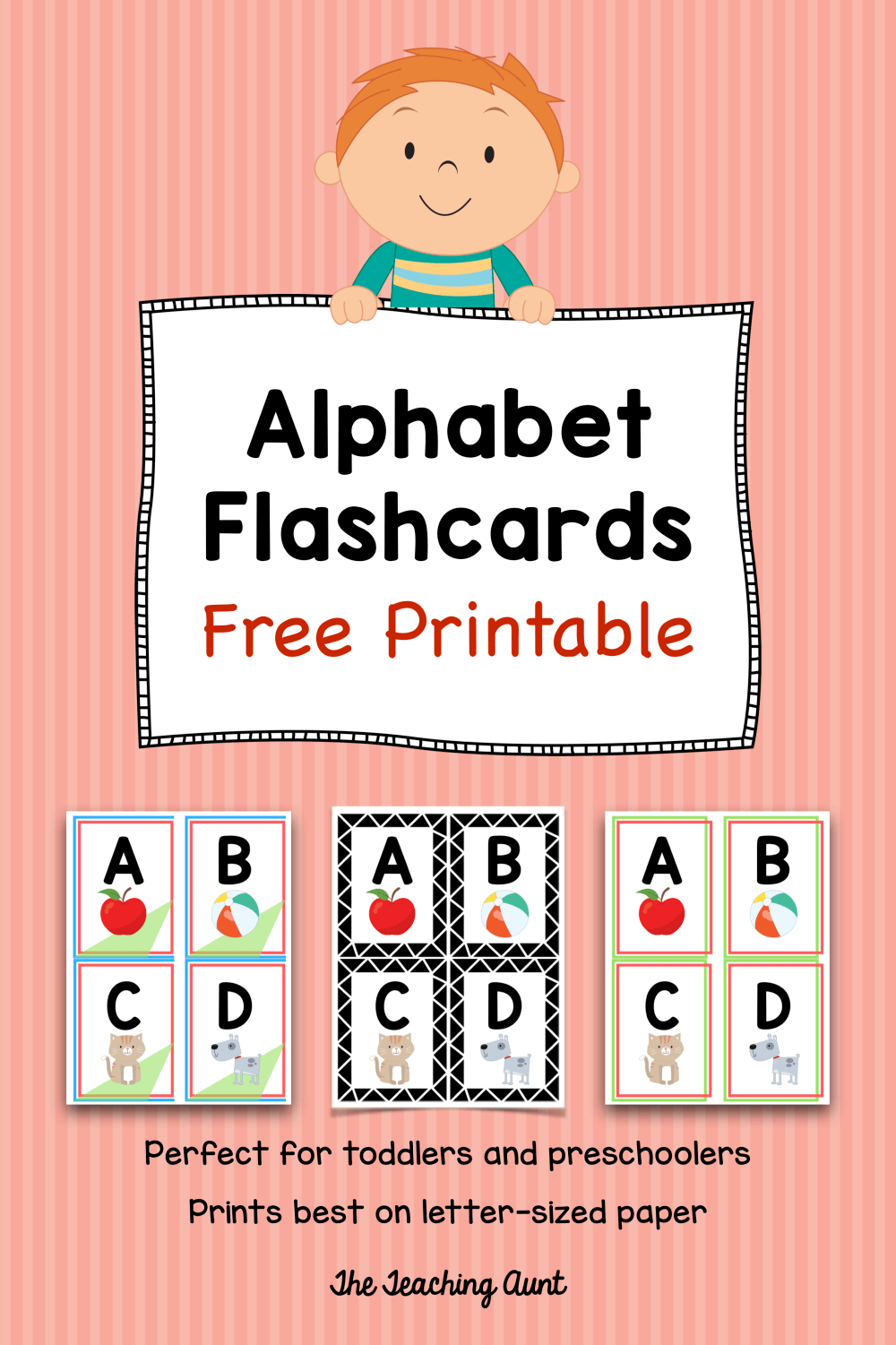 Alphabet Flashcards Free Printable - The Teaching Aunt ...