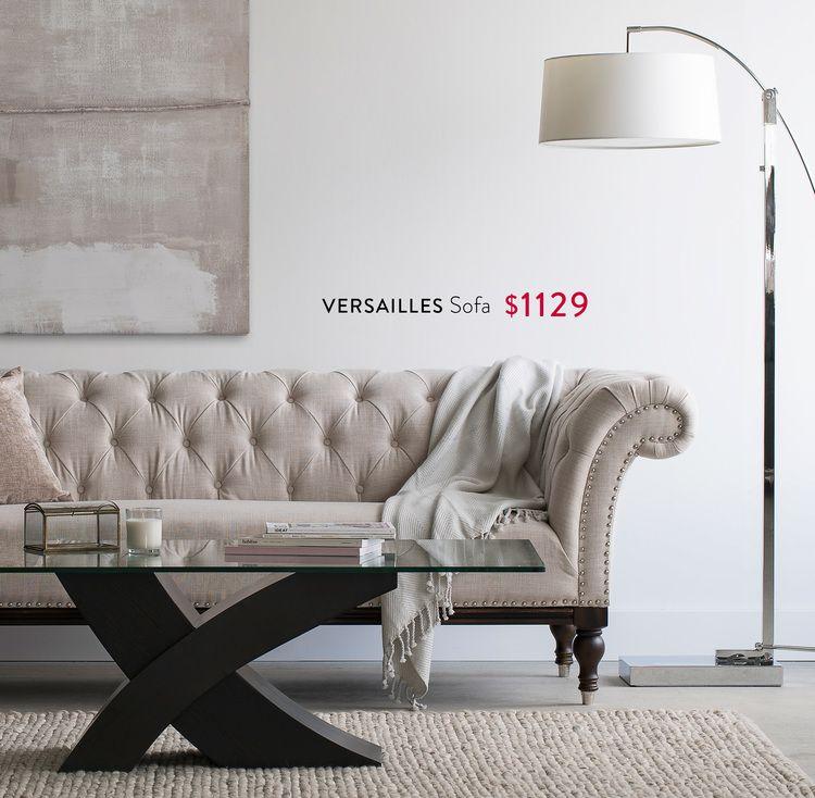 VERSAILLES Sofa $1129, XENIA Coffee Table $399