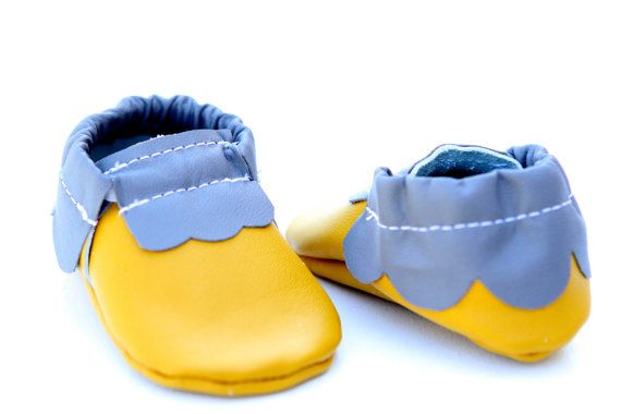 Yellow and Gray Scalloped Leather Baby Moccasins