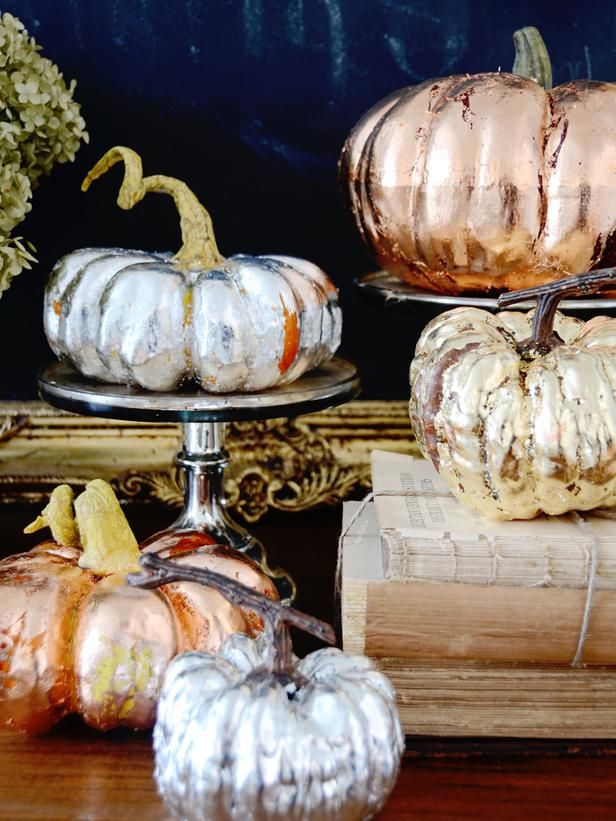 Metallic Copper Gold And Silver Pumpkins Silver Pumpkins Thanksgiving Centerpieces Pumpkin Decorating