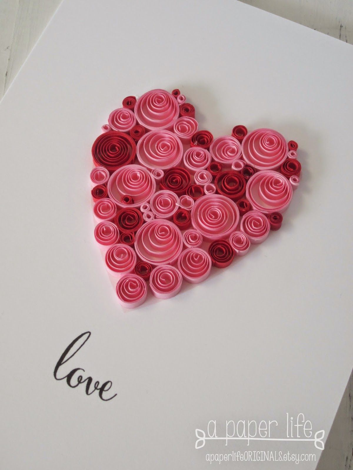 Love Quilled Red Pink Heart With Images Paper Quilling
