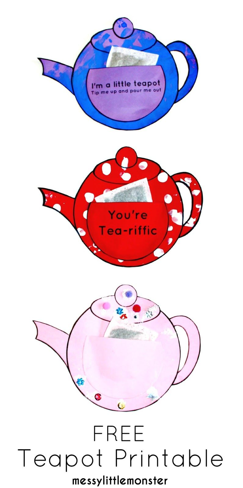 You\'re Tea-riffic teapot craft - FREE printable teapot template ...