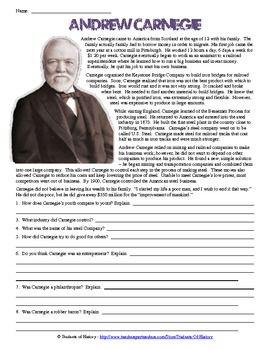 Andrew Carnegie Biography Worksheet | Andrew carnegie ...