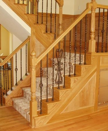 Wood Stairs Residential Stairs Custom Staircase Staircase   Red Oak Stair Railing   Inside   2 Tone   Beautiful   Color   Two Toned