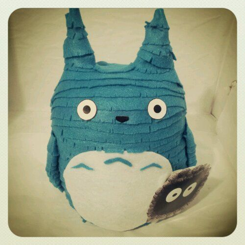 Check out our handmade blue totoro coin bank!!!!<3 hes adorable