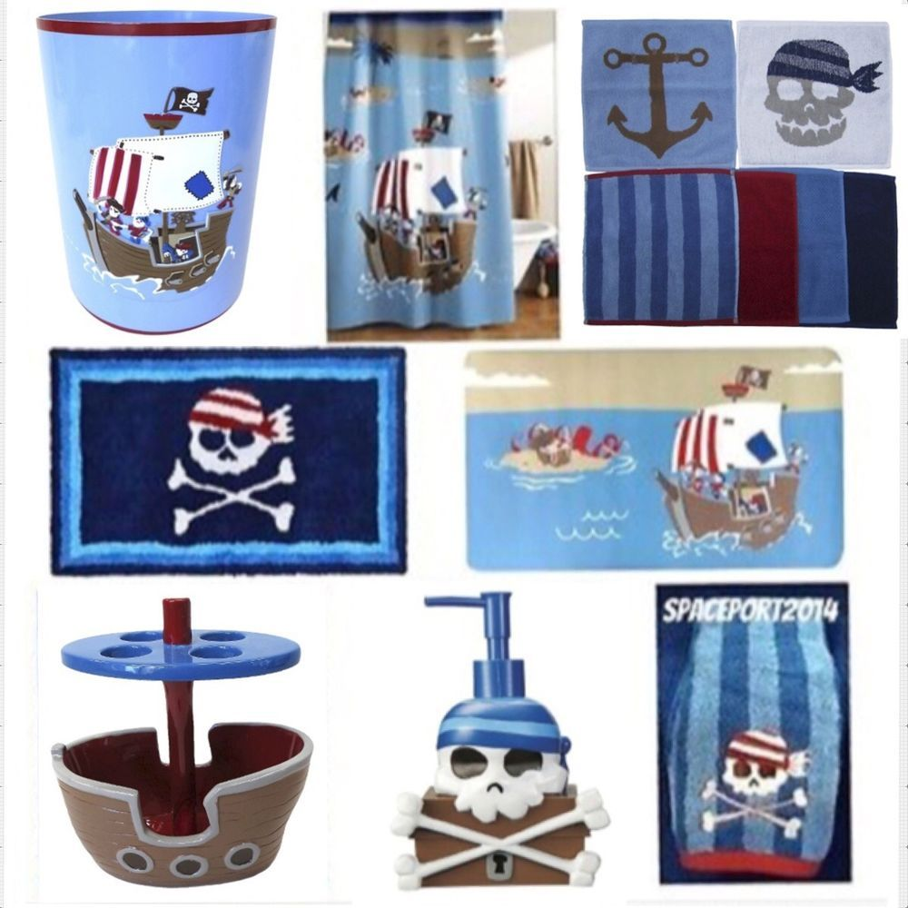 PIRATE SHIP SET Bathroom Decor Crossbones Kids Skulls SHOWER  CURTAIN+ACCESSORIES