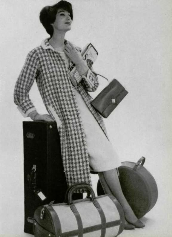 Vintage Ad, Chanel Dress, Hermes Purse and Luggage