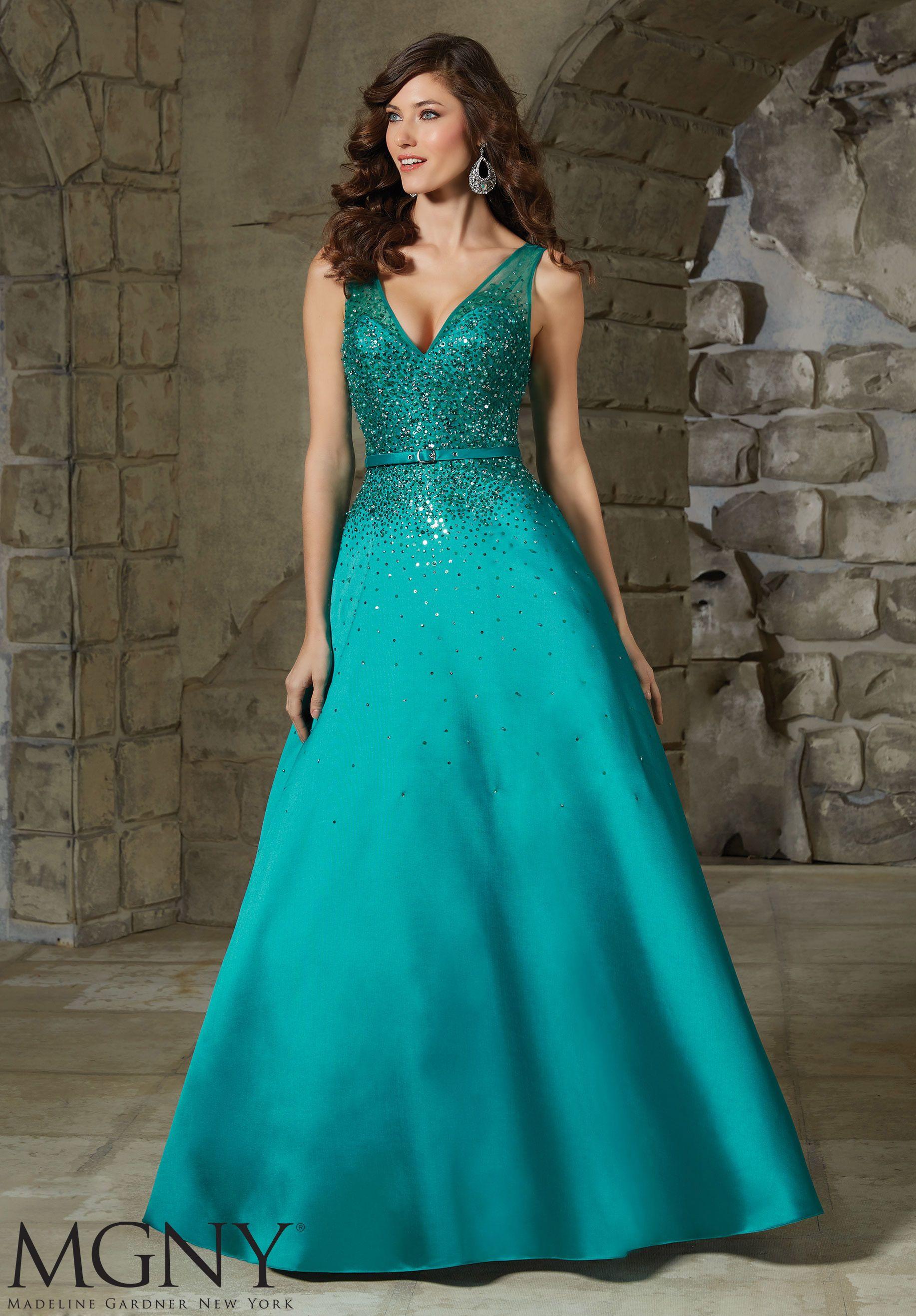 Crystal Beading on Larissa SatinEvening Gown | Clothing Ideas ...