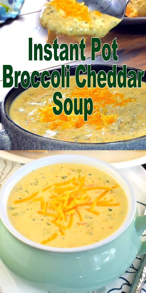 Dinner in under 30 minutes! Loaded with vegetables and cheese, you'll love this easy, creamy Instant Pot Broccoli Cheddar Soup Recipe! It's the BEST! Copycat Panera recipe! #instantpot #pressurecooker #copycatrecipe #panera #broccolicheese #soup #instantpotrecipes