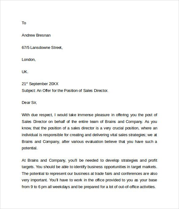 sample offer letter templates free examples format word pdf - sample offer letter