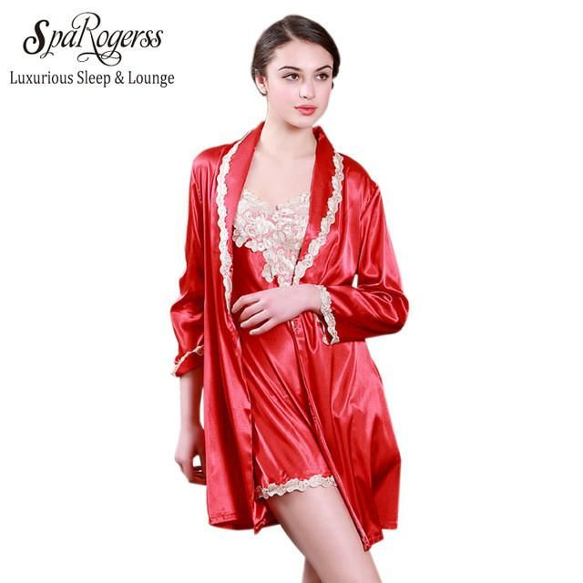 Luxurious Women New Robe Gown Set Summer Ladies Lace Silky Bath ...