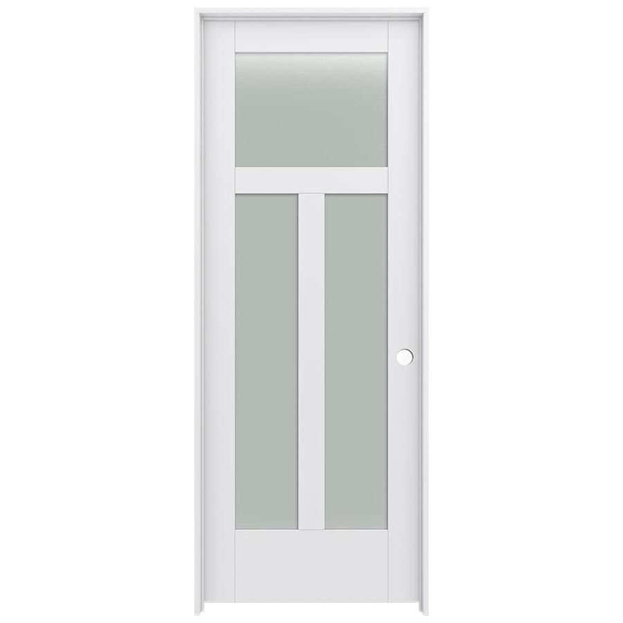 Jeld Wen Moda 1033w 24 In X 80 In Primed 3 Panel Craftsman Solid Core Frosted Glass Mdf Pre Hung Door Lowes Com In 2020 Glass Doors Interior Craftsman Interior Doors Prehung Interior Doors