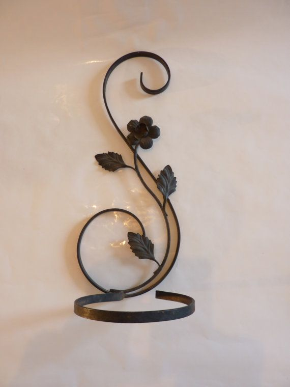 Scrolled Iron Plant Hanger Or Candle Holder By Heatherbleudesigns 22 00 Sz Wrought Iron Candle Holders Wrought Iron Furniture Wrought Iron Design