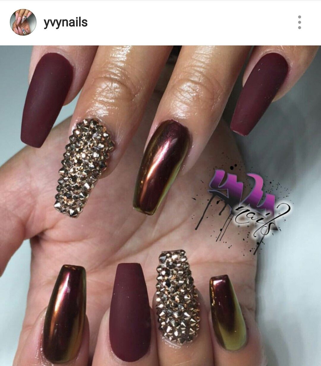 Burgundy Nails Chrome And Matte With Gold Rhinestones