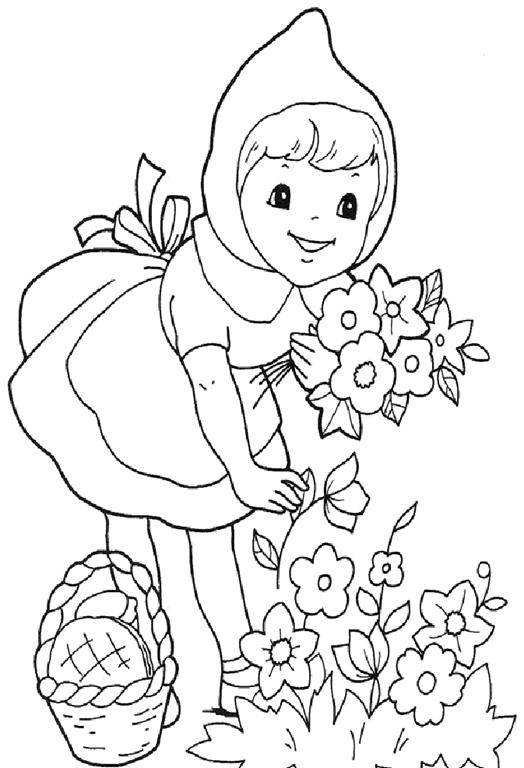 Desenho Colorir Menina Chapeuzinho Vermelho Chapeuzinho Vermelho