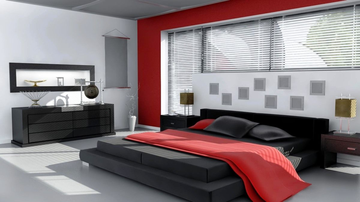 Modern black and red bedroom - Bedroom Lovely Black Living Room Ideas Red Black Bedroom Ideas Brown Varnished Simple Concept Wooden Storage Red Blankets Black Cushion Stunning Design