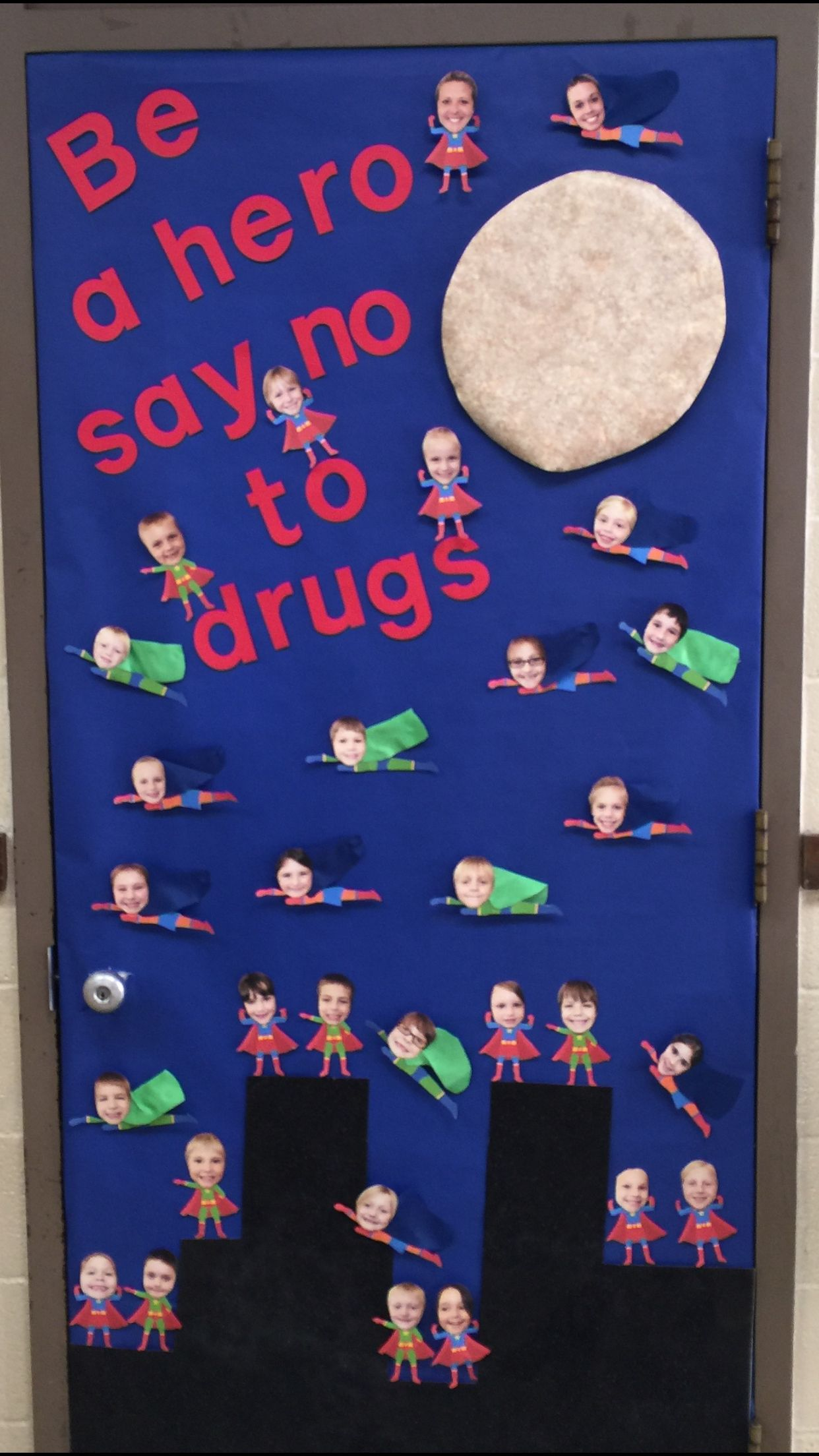 Free Decorating Ideas Part - 22: Drug Free Door. Superheroes Say No To Drugs.