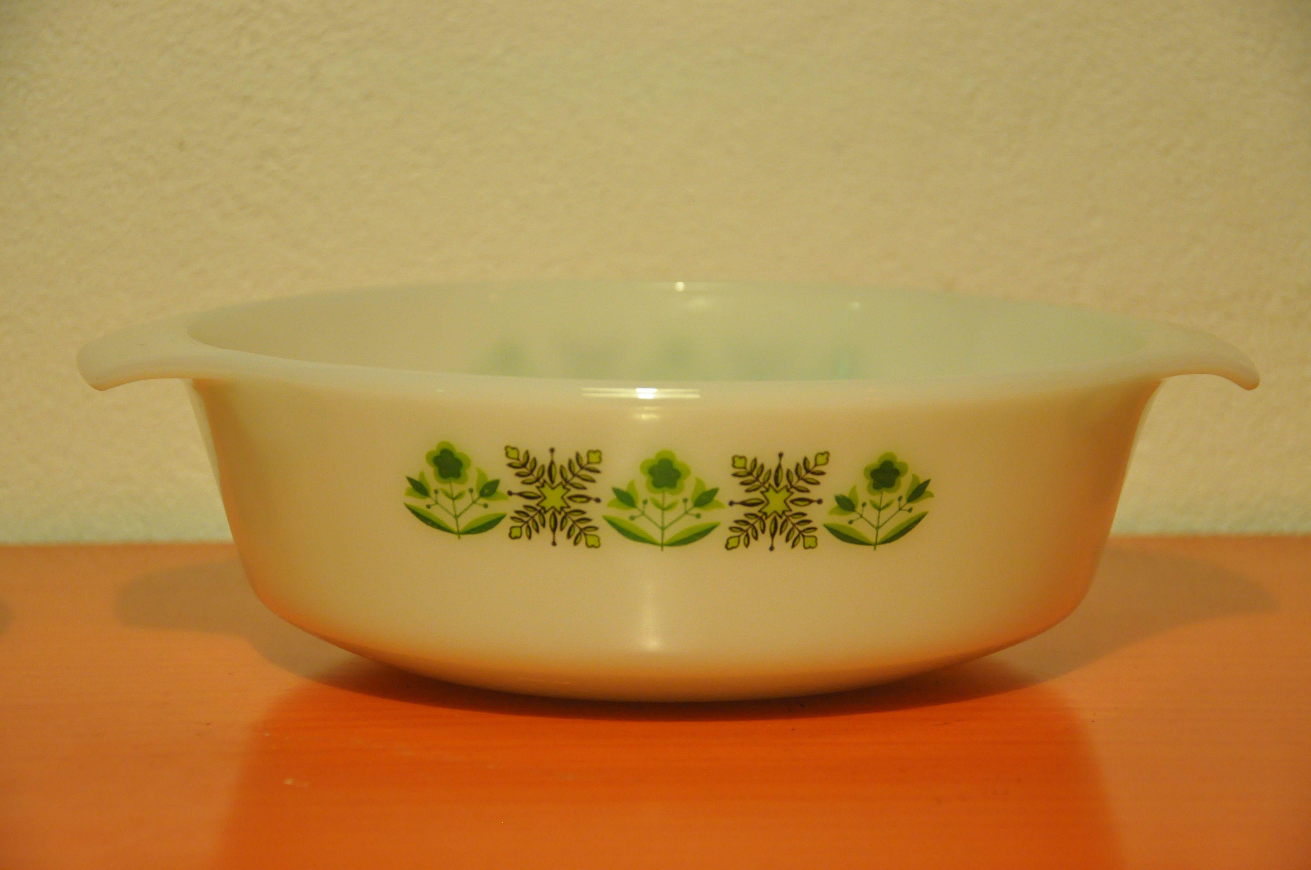Anchor Hocking 'Fire King' milk glass casserole dish 1950's.