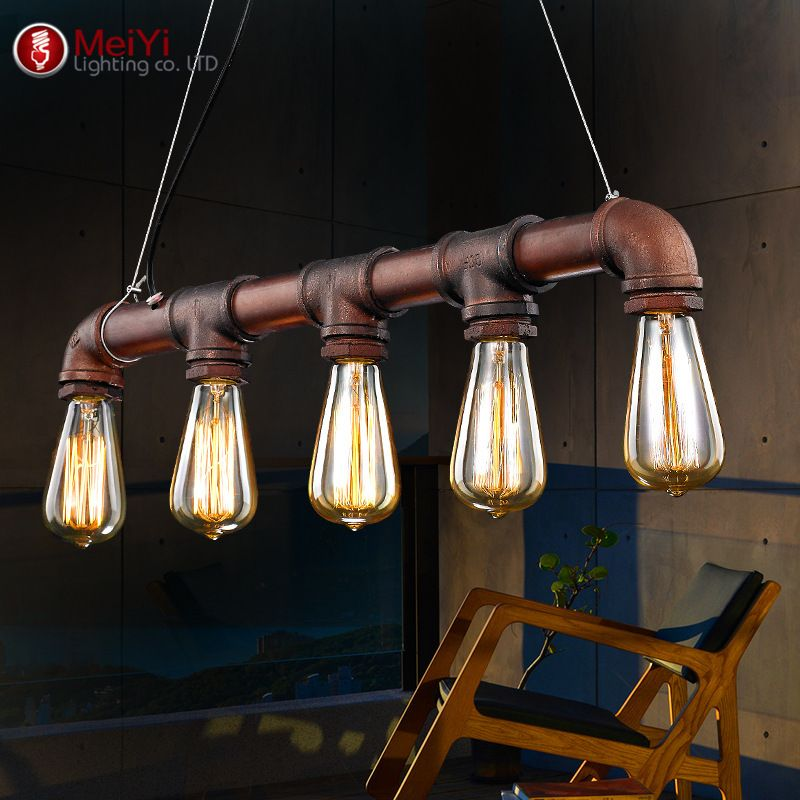 Wide Antique Copper 5 Light Pipe Island Light For Kitchen, Fashion Style  Industrial Lighting Idea