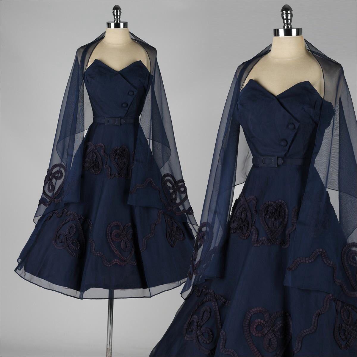 Navy blue evening dress 1950