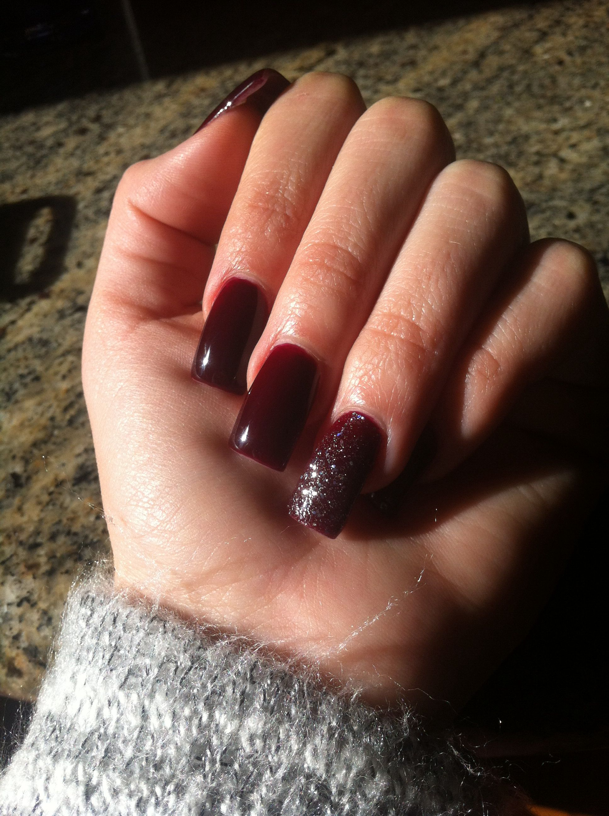 Blood red deep burgundy nails with silver sparkle #nails | Awesome ...