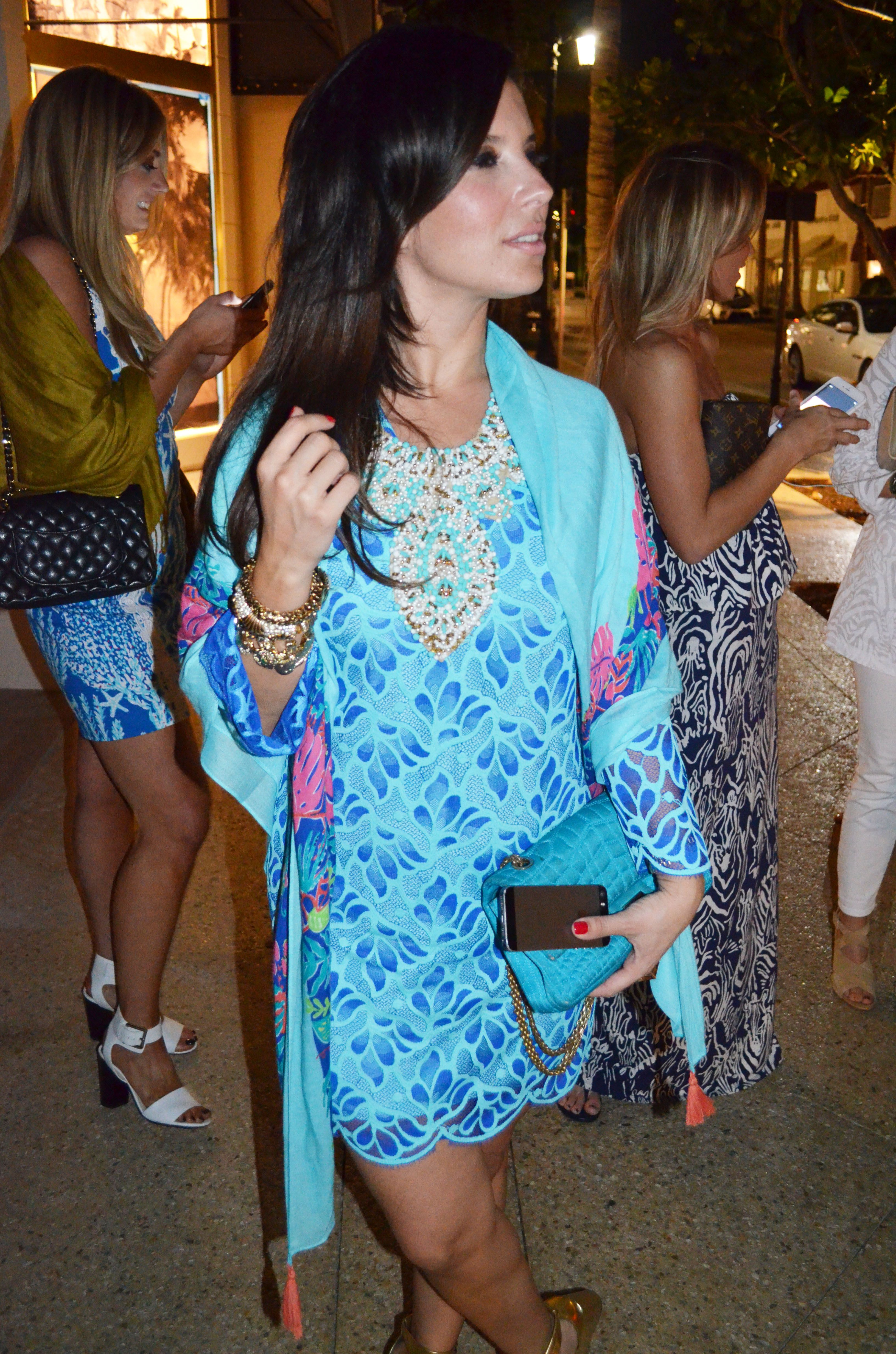 Lilly Pulitzer Devina Lace Tunic Dress & Sailaway Square Scarf worn ...