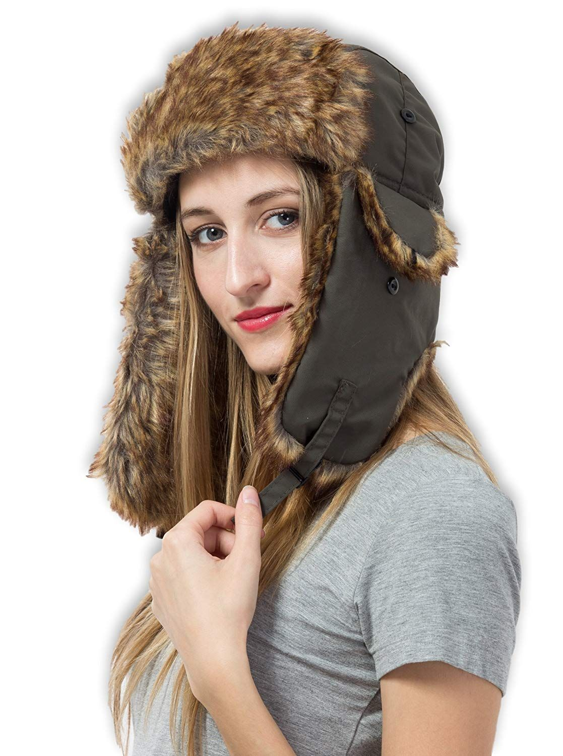 1365e116f06d0 Trapper Hat with Faux Fur   Ear Flaps - Ushanka Aviator Russian Hat for  Serious Expeditions   Serious Style. Waterproof